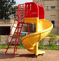 Горка детская, пластиковая, спиральная, красная, жёлтая