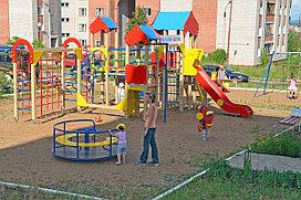 Детская площадка, с горкой, каруселью, сеткой лазалкой, лазом, качелями