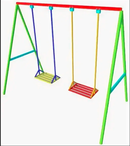 Детская качеля двойная, разноцветная