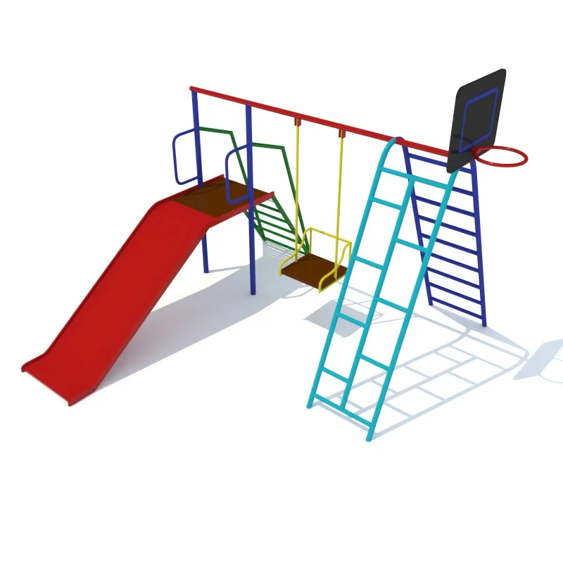 Комплекс детский, горка, лестница, лестница гимнастическая, качеля, щит баскетбольный