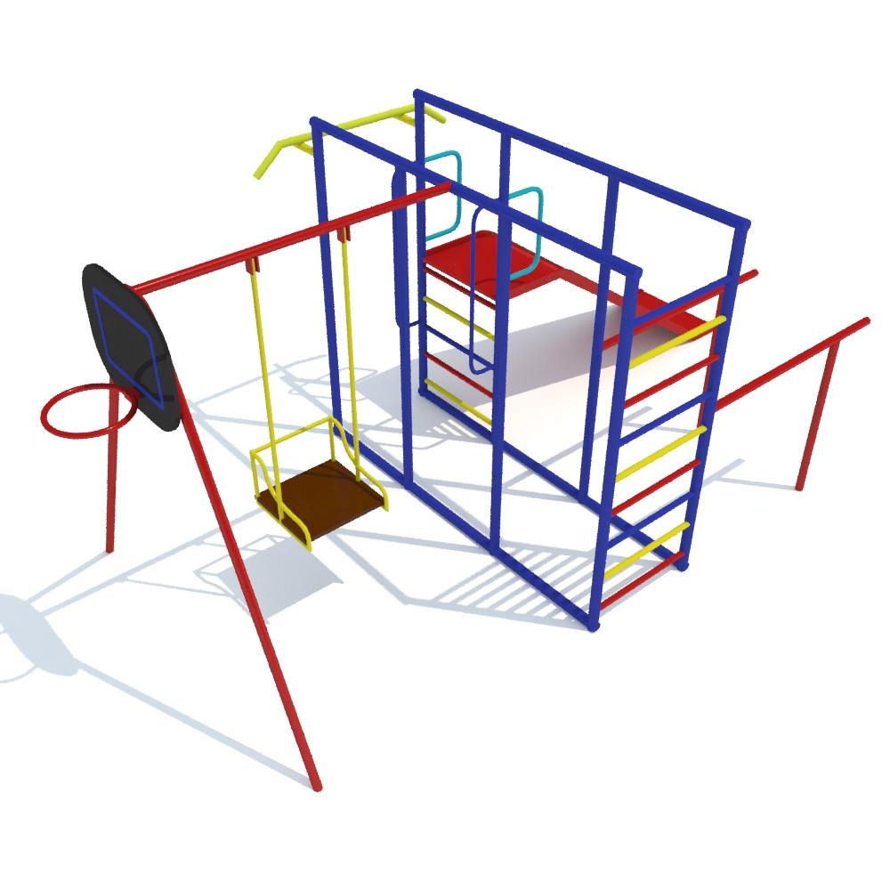 Детский комплекс, качели, щит баскетбольный, турник, горка, шведская стенка