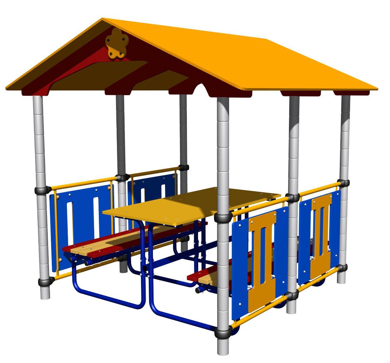 Беседка со скамейками и столом, синяя, желтая
