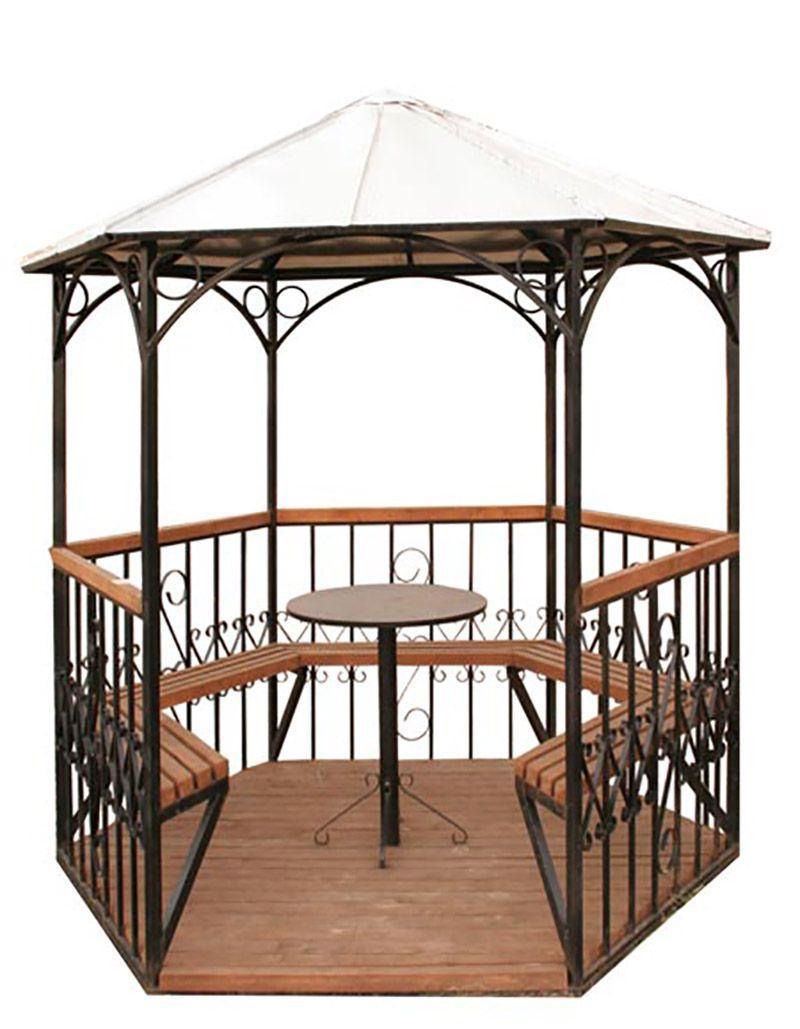 Беседка с крышей, лавочками, столом, перилами