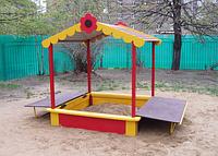 Песочница детская, с сидениями, с крышей, закрывающаяся