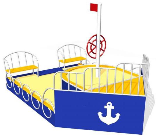 Песочница детская в виде кораблика, с штурвалом, с сидениями