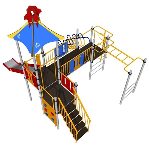 Игровой комплекс Romana, шведская стенка, рукоход, горки, скалодром, домик с крышей
