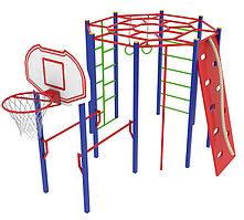 Детский комплекс с баскетбольным щитом, скалодромом с канатом, рукоходом круговым, брусьями