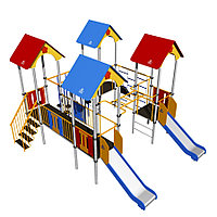 Игровой комплекс Romana, горки, шведские стенки, домики с крышей