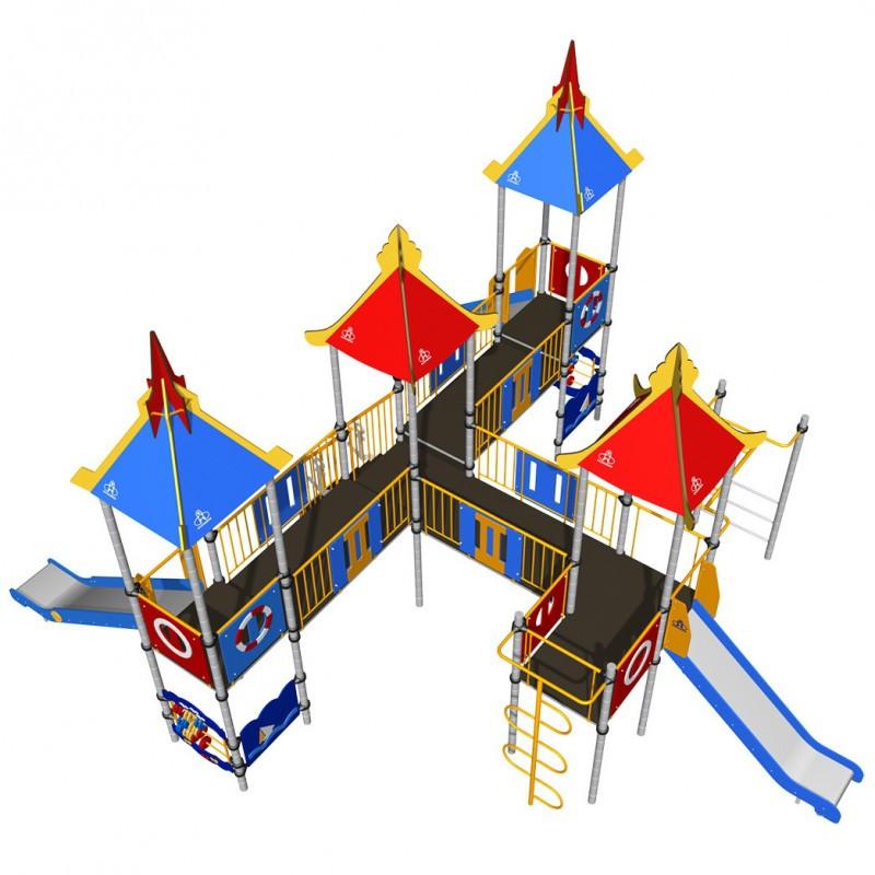 Игровой комплекс Romana, с горками, лазом, шведской стенкой, домиками с крышей