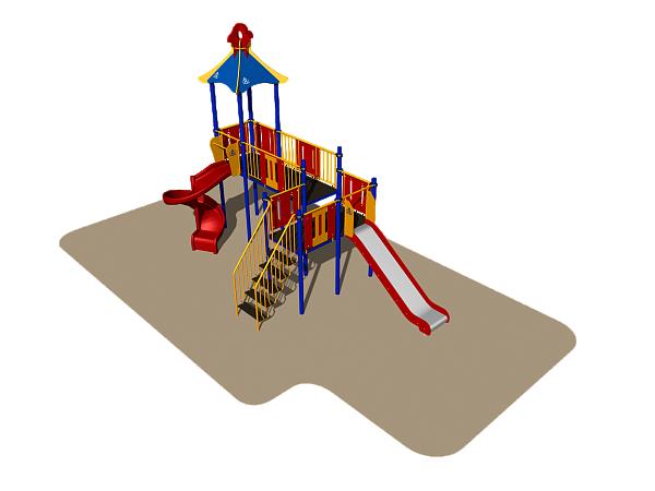 Игровой комплекс Romana, с горками, лестницей, домиком с крышей