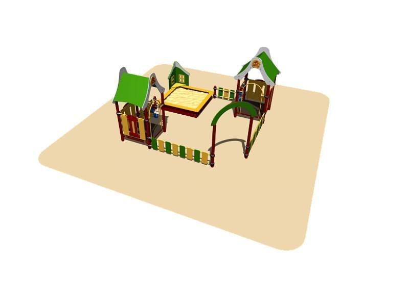 Песочный дворик Romana, домики с крышей, сиденьем и счетами,