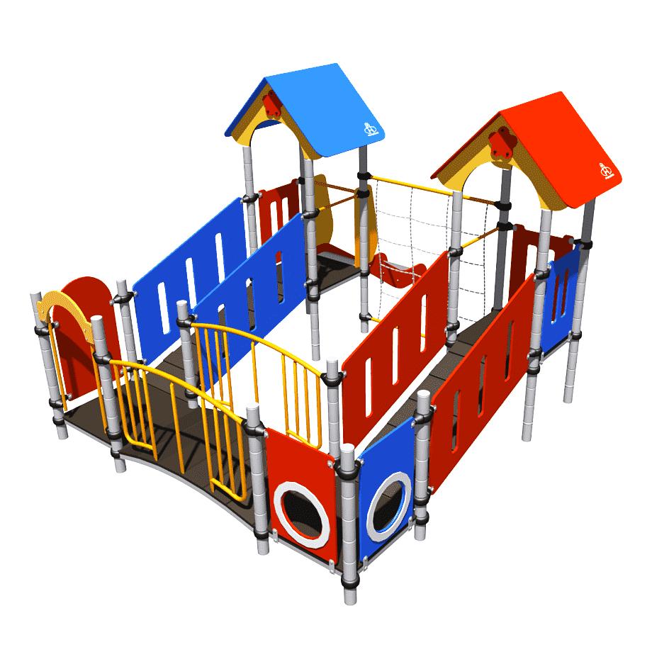 Игровой комплекс Romana, с сеткой лазалкой, игровыми башнями, лазами,