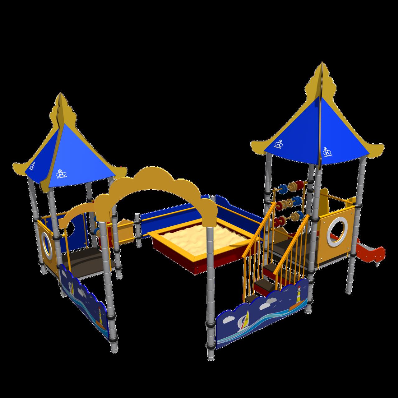 Песочный дворик «Море» Romana, песочница, счёты, горка, игровые башни