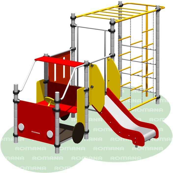 """""""Пожарная машина"""" Romana, детская машинка с рукоходом, лестницей, горкой, развивающая"""