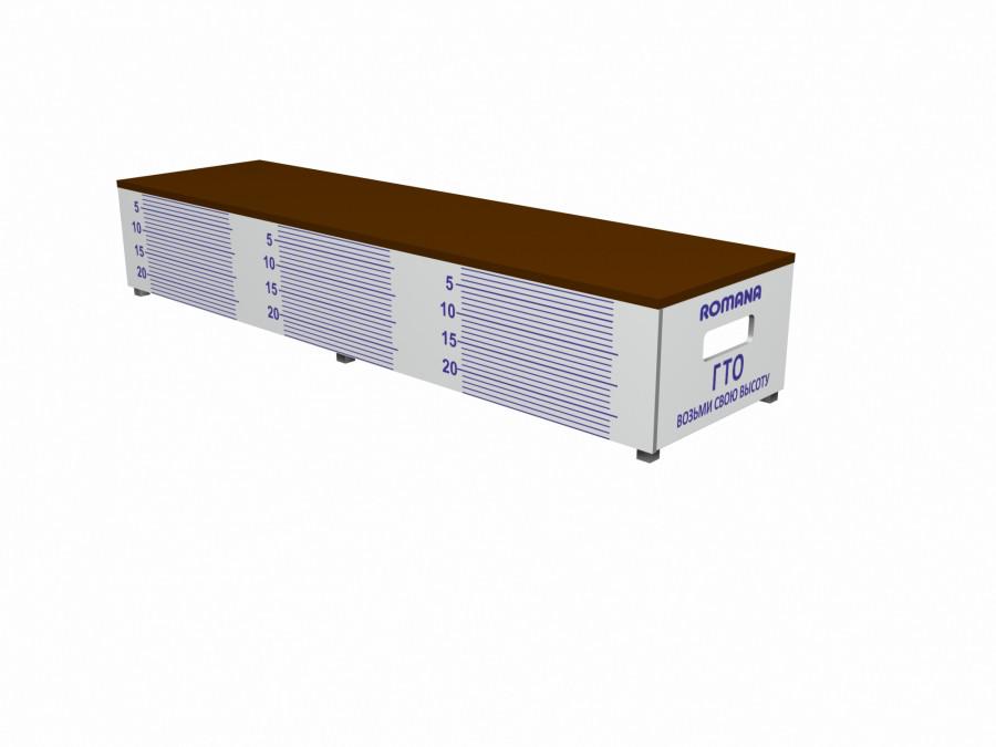 Скамья гимнастическая для измерения гибкости Romana, металлическое основание, пластик, фанера