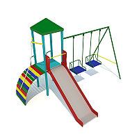 Детский городок, домик с крышей, лестница, горка, качели