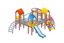 Детский городок, лаз, рукоход, горка, гимнастические кольца, домики с крышей