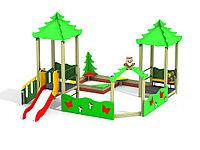 Песочный двор, две башни-беседки, арка, песочница, ограждение из деревянного бруса, детские счёты