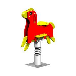 Качеля пружина детская, красная, в видео коня