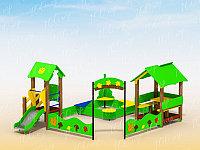 Песочница детская, с горкой, счётами, сидениями
