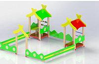 Песочница детская, со счётами, домиками с крышей