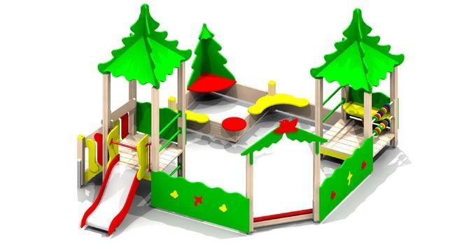 Песочница детская, с горкой, домиками с крышей, с сидениями, счётами