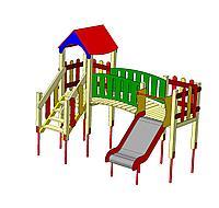 Детский городок, горка, лестница, домик с крышей, фото 1