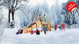 Заливная горка «Снежинка» из дерева, с лестницей