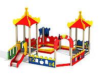 Песочный двор с песочницей, ограждением из деревянного бруса, башни игровые, горка, лестница, сиденья