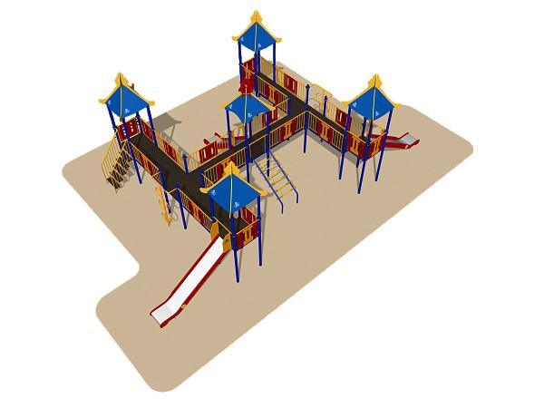 Игровой комплекс Romana, стойки, лестница, крыша, горки, лазы