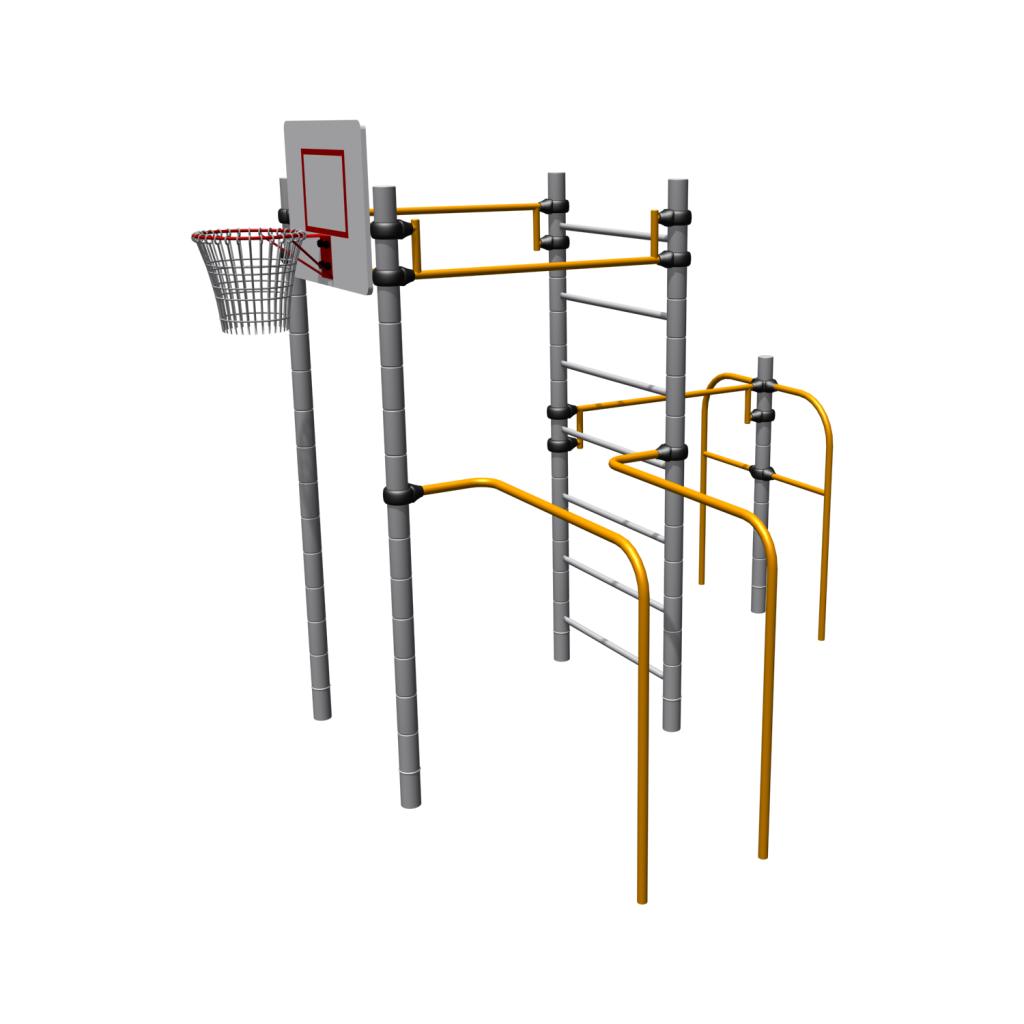 Спортивное оборудование Romana, метал, пластик, с турником, шведской стенкой, баскетбольное кольцо