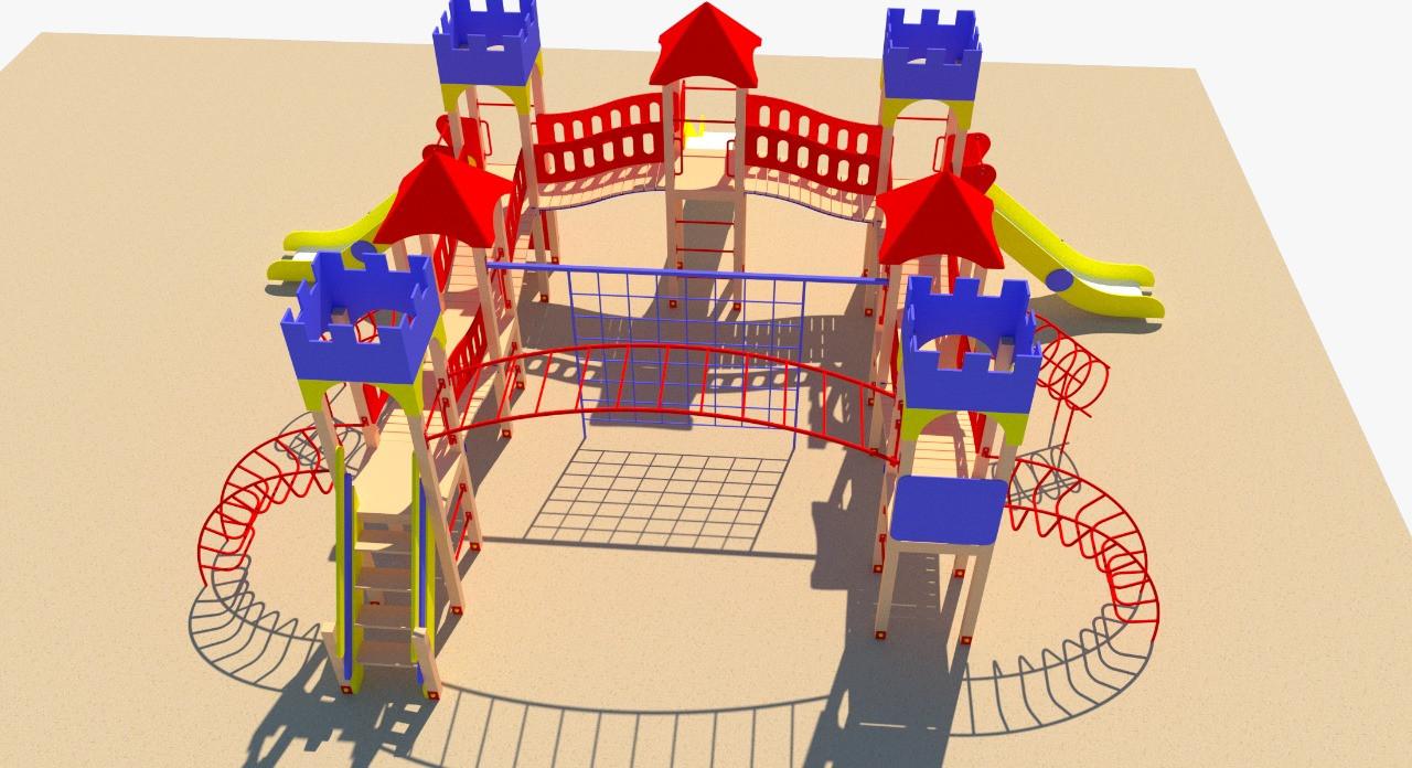 Игровой комплекс металлический, с рукоходом, игровыми башнями, лестницей