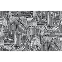Обои виниловые на флизелиновой основе 'Белвинил' Вояж-22 черно-белый 1,0610м