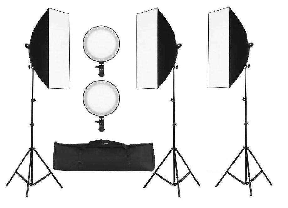 3 х Софтбокс комплекта 50×70 с LED лампой с теплым и холодным светом + сумка