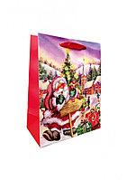Пакет подарочный серый 18,5*23*9,5см Новый год