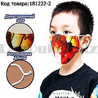 Многоразовая защитная маска детская от холода и пыли с двойным подкладом и регулятором длины Человек-Паук