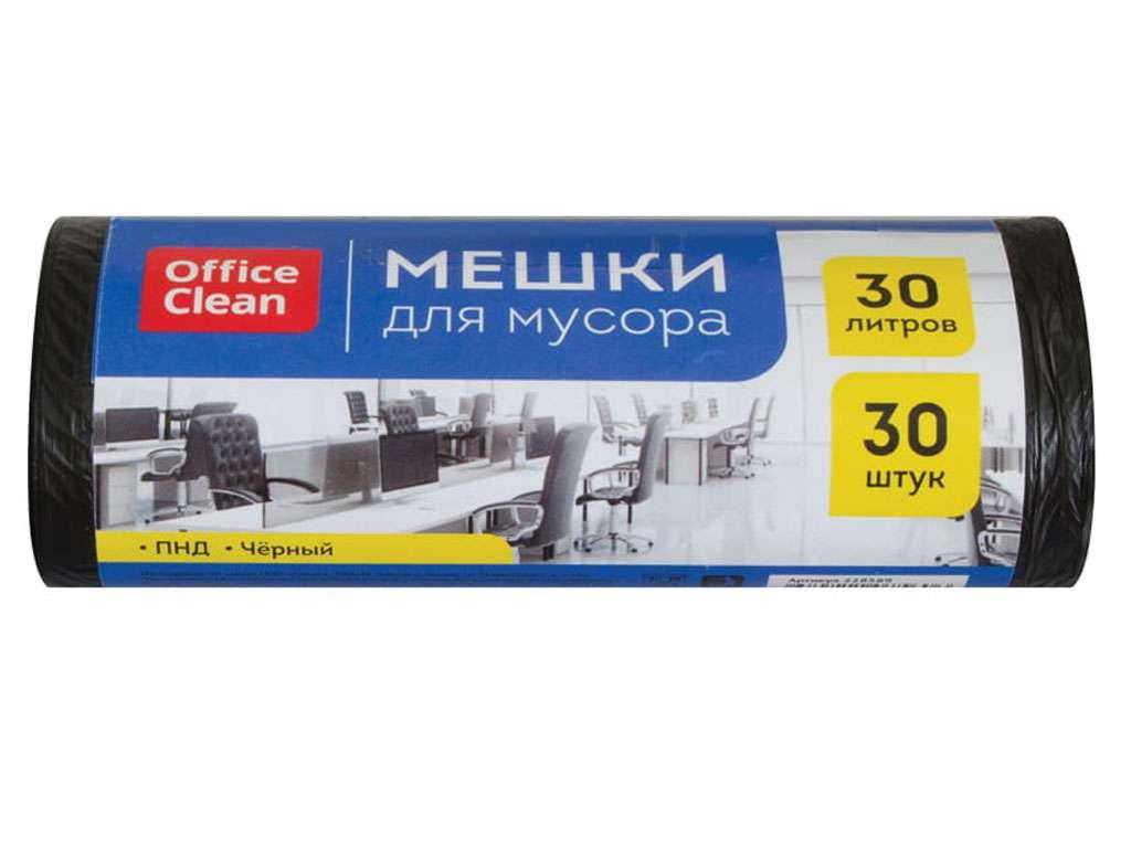 Мешки для мусора OfficeClean, 30 литров, 6 мкм, 30 штук в рулоне
