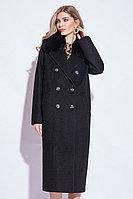 Пальто зимнее, 40-50, букле, песец, черное