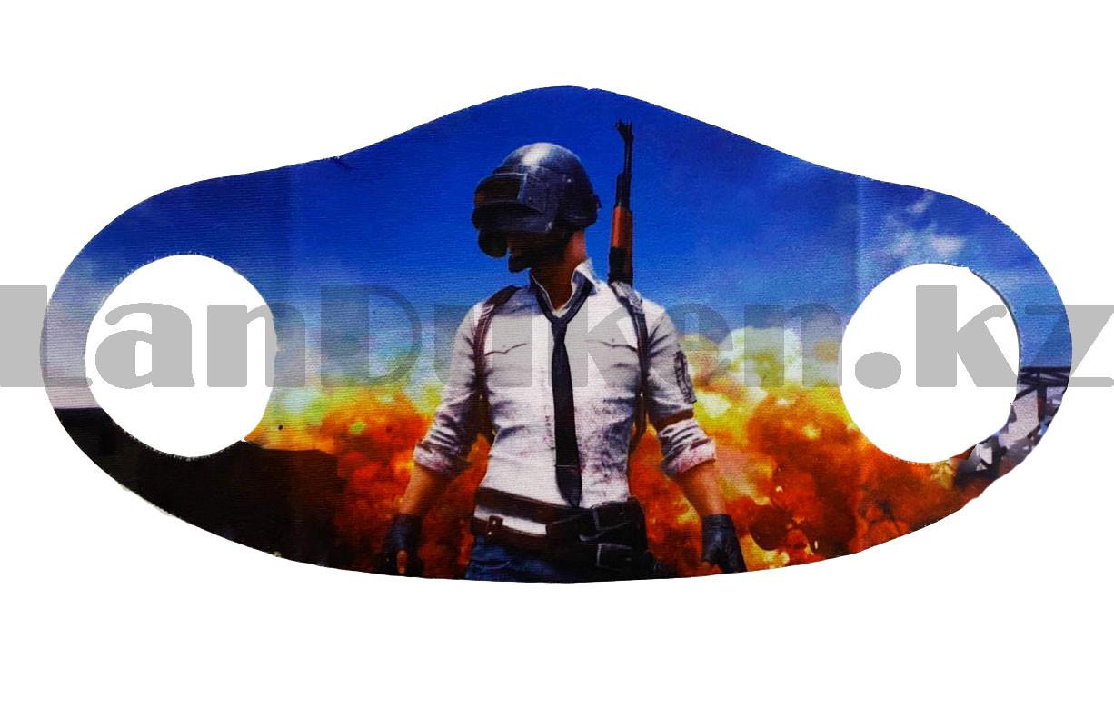 Многоразовая защитная маска детская от холода и пыли с принтом PUBG снайпер - фото 4