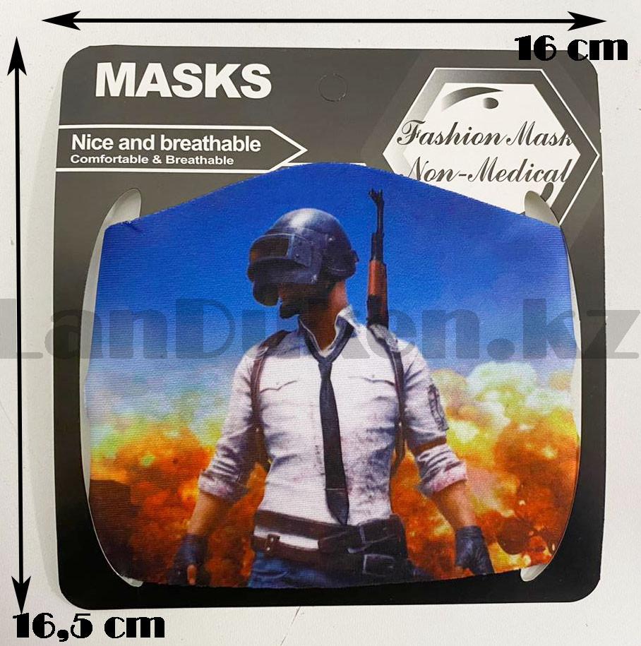 Многоразовая защитная маска детская от холода и пыли с принтом PUBG снайпер - фото 5