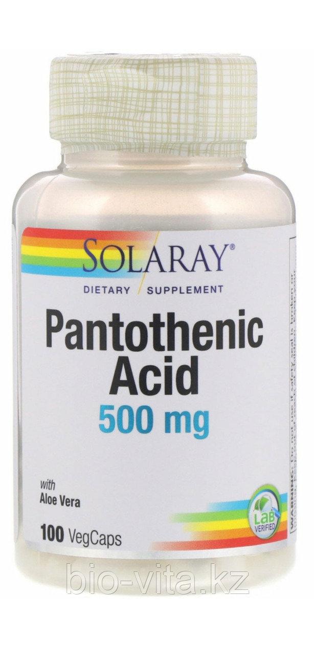 Pantothenic Acid,Пантотеновая кислота Витамин В 5. 500 mg, 100 капсул.  SOLARAY