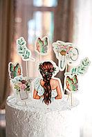 Топперы набор Девушка, бабочки и цветы