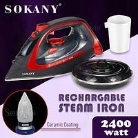 Утюг паровой беспроводной с керамической подошвой Sokany Steam Iron 2400W