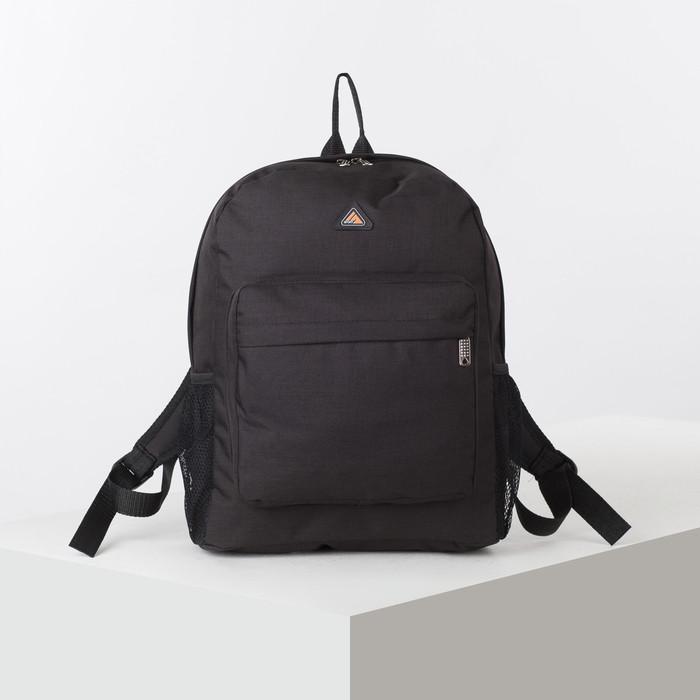 Рюкзак школьный, отдел на молнии, наружный карман, 2 боковые сетки, цвет чёрный