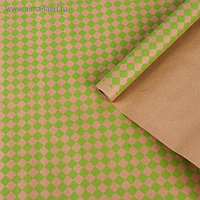 """Бумага упаковочная крафт """"Ромбы"""", салатовый на коричневом, 0,7 х 8,5 м, 70 г/м²"""