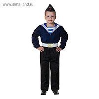 Карнавальный костюм «Моряк в пилотке» для мальчика, синяя фланка, брюки, ремень, р. 34, рост 134 см