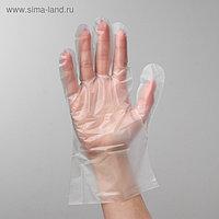 Перчатки A.D.M. одноразовые, размер L, ТПЭ, 100 шт/уп