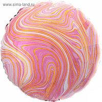 """Шар фольгированный 18"""" круг Мрамор, розовый 1204-1039"""