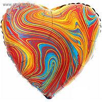 """Шар фольгированный 18"""" сердце Мрамор, разноцветный 1204-1044"""