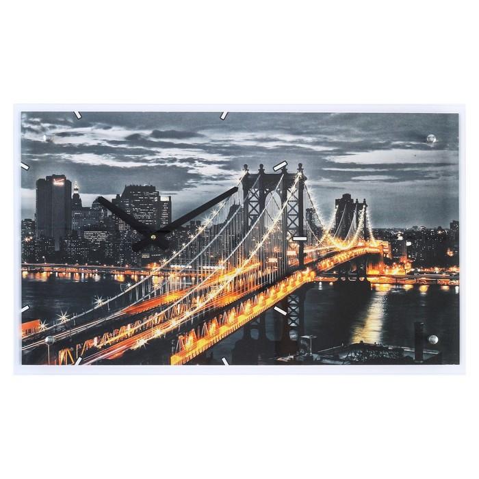 """Часы настенные прямоугольные """"Манхэттенский мост"""", 35 х 60 см"""